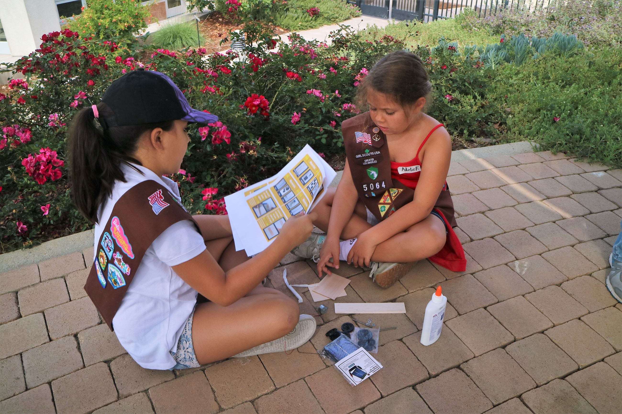 Girl Scouts performing a conservation activity
